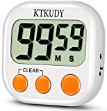 [2020 NEW VERSION] KTKUDY Kitchen Timer with Adjustable Loud Alarm & Auto Shut-off Function, Digital Count down/Up Stopwatch Timer for Kids Teachers Cooking Classroom, Magnetic Back, Big Digits