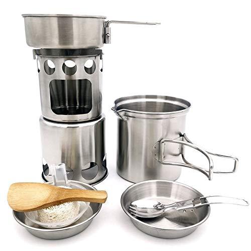 #N/V Outdoor Products 304 - Juego de utensilios de cocina de acero inoxidable para camping