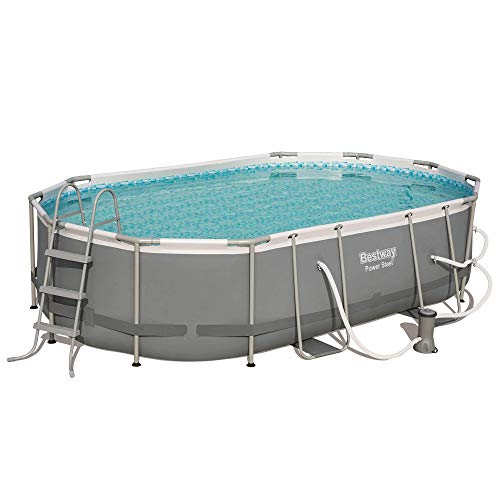 Bestway 56655E Power Steel 16ft x 10ft x 42in Outdoor Oval Frame Above Ground Swimming Pool Set with 1000 GPH Cartridge Filter Pump, Ladder, and Cover