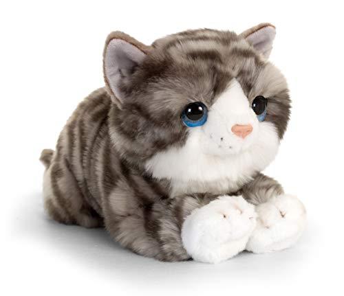 Lashuma Plüschtier Katze Grau Getigert Jade, Keel Toys Kuscheltier Kätzchen liegend 32 cm