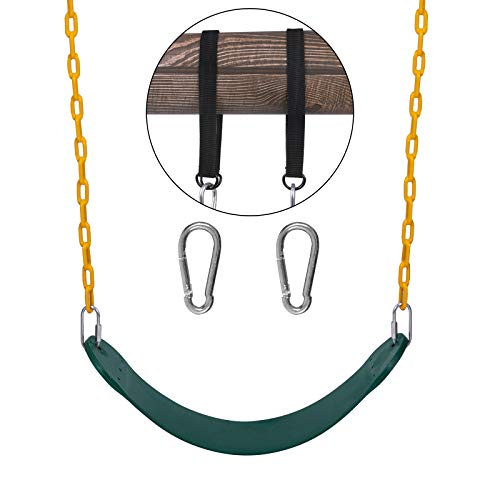 """Sunnyglade Swings Seats Heavy Duty with 66"""" Chain,Playground Swing Set Accessories Replacement with Snap Hooks and Hanging Strap Support 440lb (Green)"""
