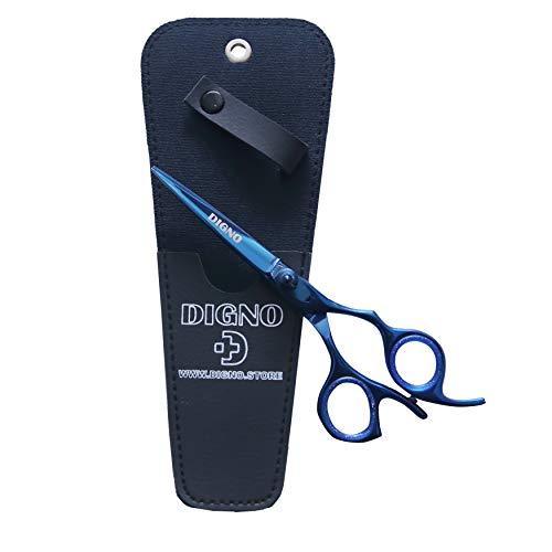 DIGNO Tijeras de cortar el pelo de acero inoxidable, tijeras de peluquería de 16,5 cm, tijeras profesionales de peluquería, con tornillo tensor ajustable y una bolsa, para hombres y mujeres (azul)