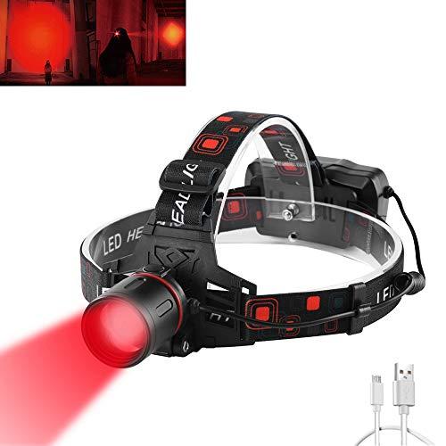 WESLITE Linterna Frontal LED Recargable con Luz Roja, 1000 Lumen Linternas Frontales Rojo LED Alta Potencia para Caza Zoom Linterna de Cabeza Roja para Astronomía, Visión Nocturna, Cámping (Luz Roja)