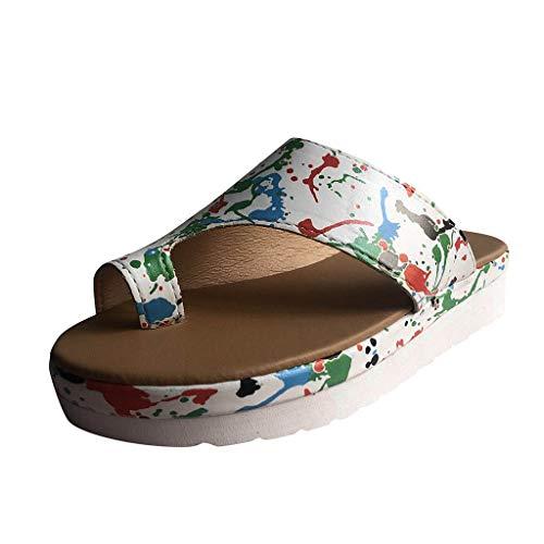 WUSIKY Damen Hausschuhe Frauen Bequeme Plattform Sandalen Schuhe Clip-Toe Haltung Korrektur Hausschuhe Sommer Strand Modisch Bequem Sandalen Weiß 42