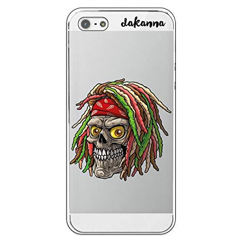 dakanna Funda Compatible con [iPhone 5-5S - SE] de Silicona Flexible, Dibujo Diseño [Calavera Rasta jamaicana con Bandana], Color [Fondo Transparente] Carcasa Case Cover de Gel TPU para Smartphone