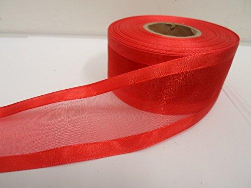 Beautiful Ribbon 2 mètres x 40 mm 4cm Satin bordé Ruban d'organza Cramoisi Rouge Vif Recto-Verso faveurs Mariage Pâques Noël Artisanat 40 mm
