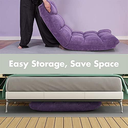 Meishikanka Sillas plegables para el suelo, silla de meditación, respaldo totalmente plegable, extraíble, gris, lavable, portátil, para sala de estar, dormitorio (color: púrpura)