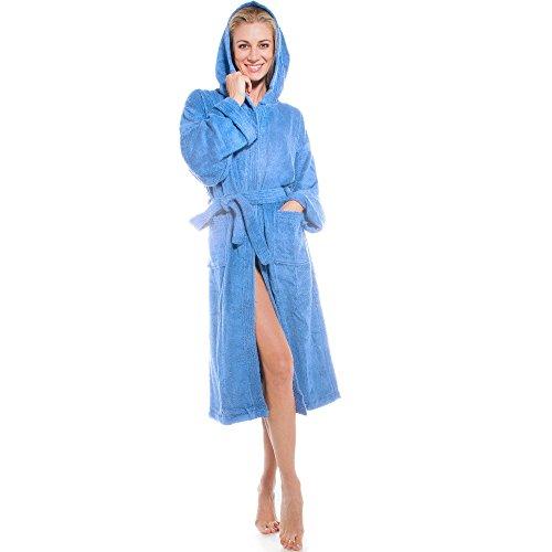 aqua-textil Föhr Bademantel mit Kapuze hell blau S Baumwolle Morgenmantel Damen Herren Saunamantel Frottee Mantel