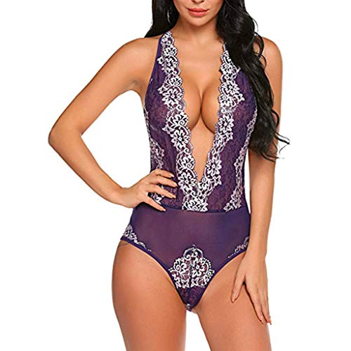QIUMINGSS Damen Erotische Sexy Versuchung Dessous Pyjamas Trikot Set UnterwäSche Lace Club Wear Flirt Charmanter(Lila, S)