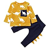 BHYDRY Infantil Bebé Chico Chica Manga Larga Dinosaurio Impresión Tops + Pantalones Conjuntos Ropa (Amarillo,90)
