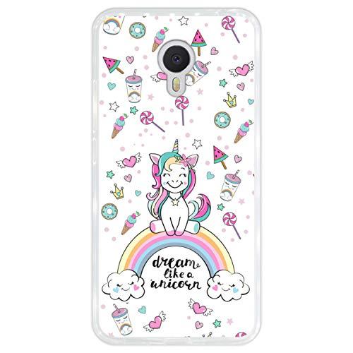 Hapdey Funda Transparente para [ Meizu m3 Note ] diseño [ Arcoiris, sueña como un Unicornio ] Carcasa Silicona Flexible TPU