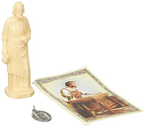 St. Joseph Statue Heimverkäufer-Set, Heilige Hausfigur, Gebete und Medaille