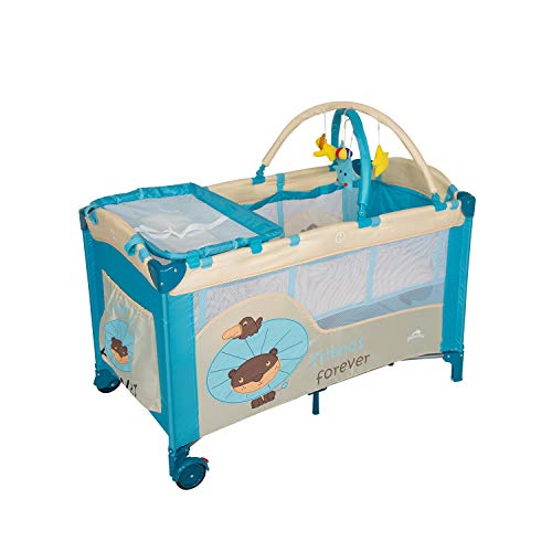 Kinbor Baby Deluxe Portable Playard Foldable Nursery Center Includes Removable Bassinet and Changing Table Infant Kids Pocket Diapter Changer Toy Cribs with Door Activity Center for Girls and Boys