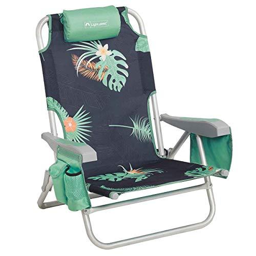 Lightspeed Outdoors Reclining Beach Chair | Lightweight Folding Chair (Deep Tropics)