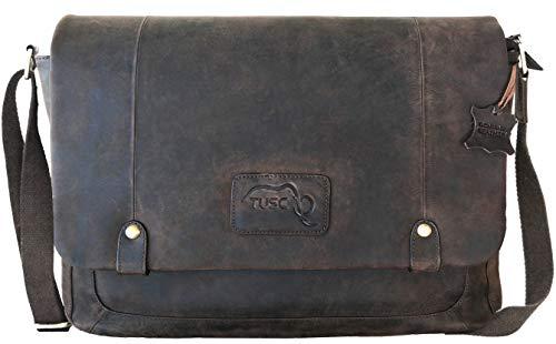TUSC Charon Braun Leder Tasche Vintage Laptoptasche bis 17 Zoll Herren Damen Unisex Umhängetasche Aktentasche Schultertasche für Büro Notebook Messenger Bag Laptop iPad, 41x31x12 cm
