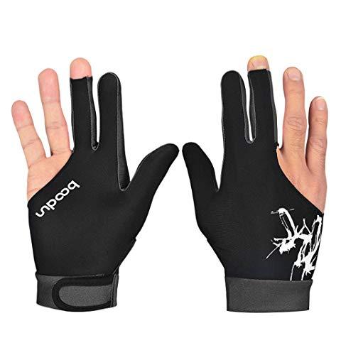 LIJUEZL 1pcs Billiard Handschuhe für Linke Hand-Silica Gel Rutschfeste 3 Finger Stretch Lycra Männer Damen Fitness-Handschuhe,A,L