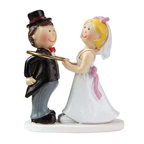 Brautpaar: Hochzeitspaar mit Trauring, 5 cm, Polyresin