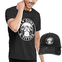 メンズ Tシャツ 快適 カジュアルI Love Gun and Titties Men's T Shirt and Baseball Cap Classic Set Combination,S