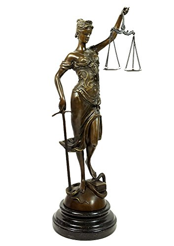 zeitzone Bronze Skulptur Figur Justitia Göttin der Gerechtigkeit Marmorsockel 41cm