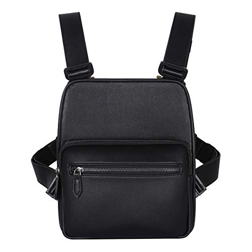 Leather Chest Rig Utility Bag, Multifunctional Front Chest Bag, Leisure Travel Hiking Bag, Men