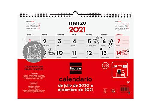 A3 420 x 296 mm con espacio para apuntar Calendario de pared 18 meses 2020 2021 MIQUELRIUS