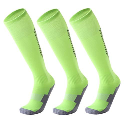 WanYangg Unisex Atmungsaktiv Verschleißfest Strümpfe Stutzen Rutschfeste Sport Socken, Dicke Deodorant für Fußball Basketball Trekking2#Fluoreszierender grüner + schwarzer Streifen 3 * Erwachsene