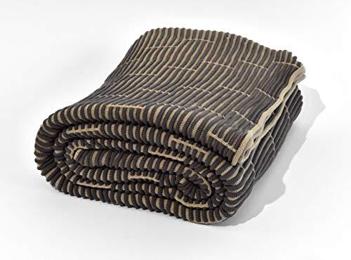 Nielsen Wohndecke Kim gestrickt, 150x200 cm, Antik Grau/Sand, 100% Baumwolle, Strick, Ökotex, Strickdecke, gemütliche modische Elegante Decke