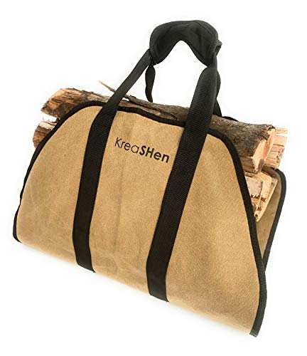 Firewood Log Carrier Waxed Canvas Water Resistant Tote with Padded Handles