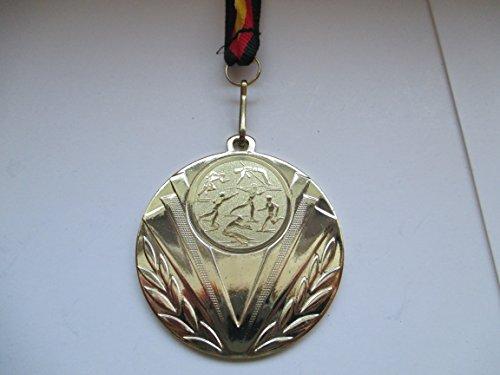 20 x Medaillen - aus Stahl 50mm - mit einem Emblem, Leichtathletik - Laufen - Lauf - inkl. Medaillen Band Farbe: Gold - Emblem 25mm - (e247) -