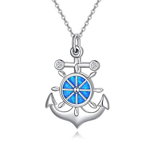 Colgante de ancla, collar de plata de ley 925 con ópalo azul, brújula simulada de color azul, regalo para mujeres, amantes del mar