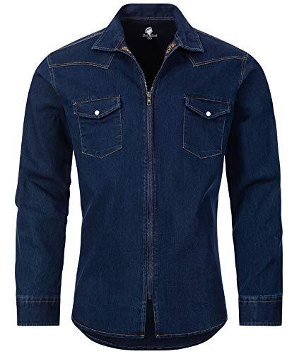 Rock Creek Herren Jeans Hemd Übergangsjacke Herrenjacke Herrenhemd Jeanshemden Männer Hemd Reißverschluss Kentkragen Freizeithemd H-221 Dunkelblau 4XL