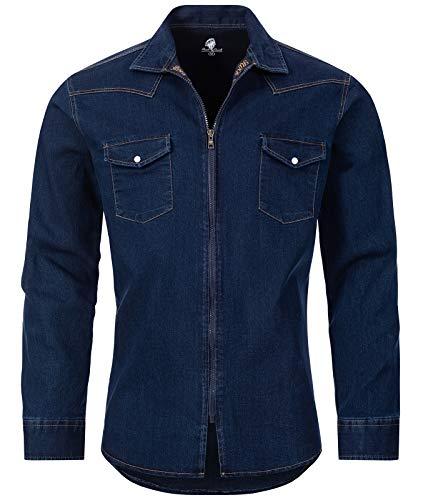 Rock Creek Herren Jeans Hemd Übergangsjacke Herrenjacke Herrenhemd Jeanshemden Männer Hemd Reißverschluss Kentkragen Freizeithemd H-221 Dunkelblau M
