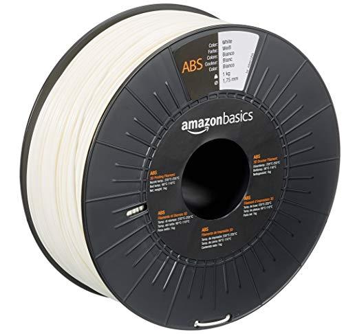 Amazon Basics - Filamento per stampanti 3D, in ABS, 1,75mm, bianco, 1 kg per bobina