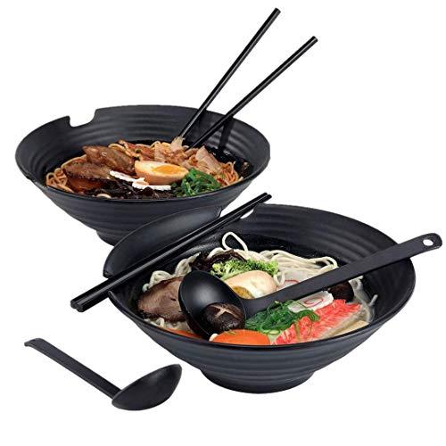 Xinmengjia 2 Sets (6 Stück) japanischer Ramen Noodle Soup Bowl Melamine Hard Plastic Dishware Set mit Matching Spoon und Chopsticks für Udon Soba Pho Asian Noodles