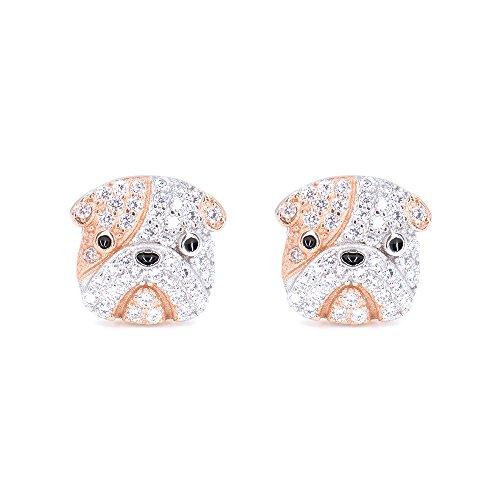 Rhodium Plated Sterling Silver Bulldog Stud Earrings CZ Studs for Women Girls