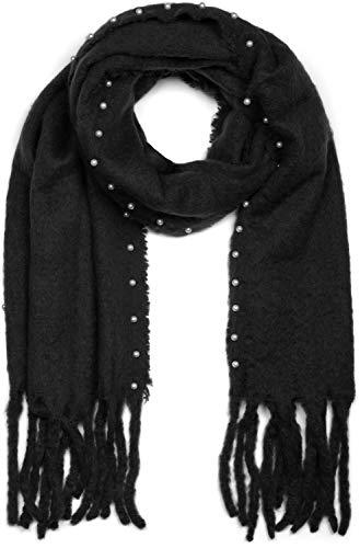 styleBREAKER Dames uni-color web sjaal met kralen en lange dikke franjes, winter, gestolen 01017123