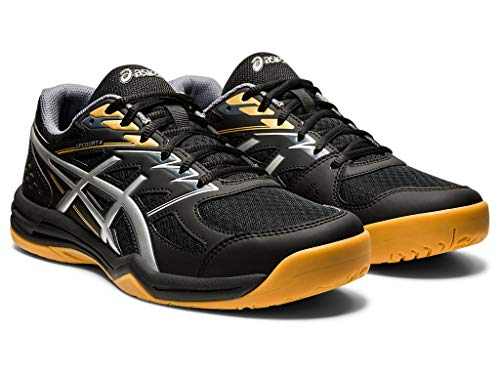 ASICS Men's Upcourt 4 Volleyball Shoes, 10.5M, Black/Pure Silver