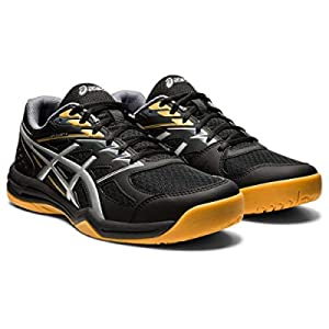 ASICS Men's Upcourt 4 Volleyball Shoes, 12, Black/Pure Silver
