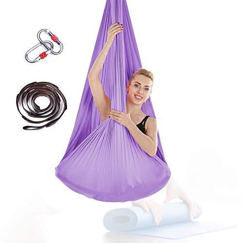 Hamaca de yoga Trapez Sling, 196,85 x 110,23 pulgadas, para ejercicios de inversión de yoga, color lila