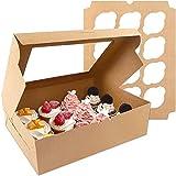 Moretoes Cupcake Boxes 20 Packs, Brown Cupcake Carrier, Food Grade Kraft Bakery...