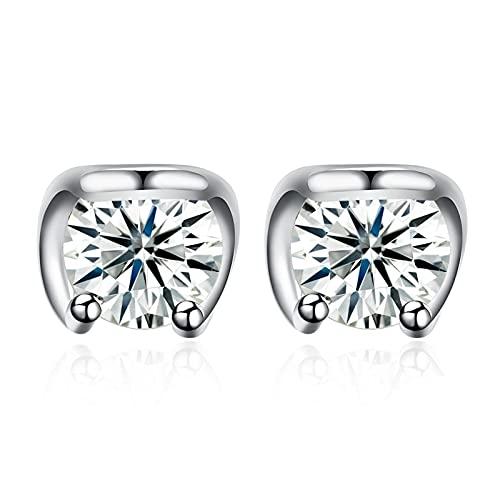 Pendientes de circonita cúbica de círculo claro de moda de joyería de plata de ley 925, pendiente de botón de geometría simple para mujer