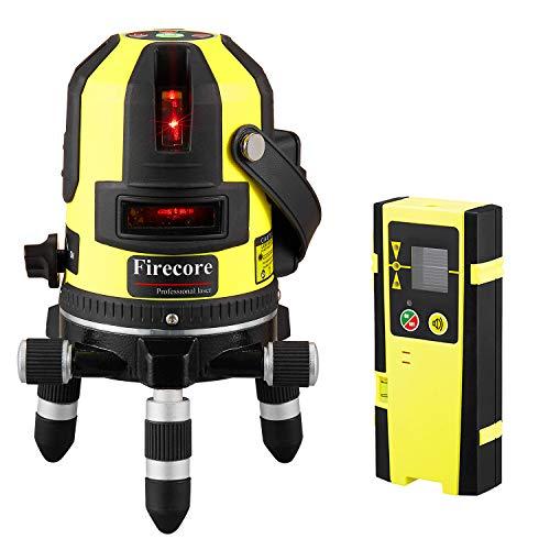 Firecore Nivel laser autonivelante rojo 50m con 5 línea, con base de 360° rotación,con punto de plomada y detector láser (FIR411R)