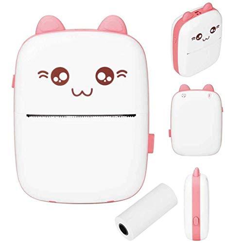 Mini-Taschen-Drucker, kabelloser Bluetooth-Fotodrucker, Etikett, Memo-Belegpapier, tragbar, intelligenter Thermodrucker, geeignet für Handys (Pink)
