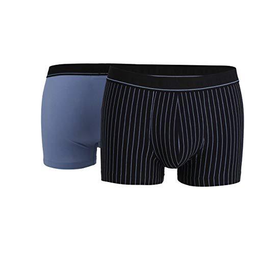 bugatti Herren Pants, Baumwolle, Single Jersey, blau, gestreift, 2er Pack 7