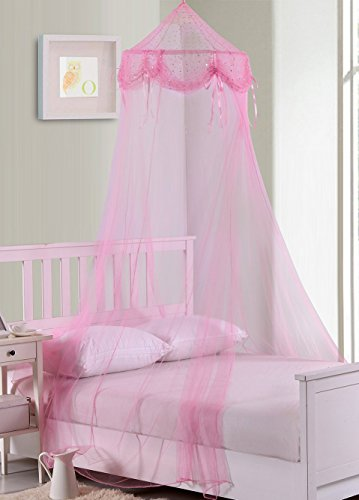 Fantasy Kids But Tons & Bows Collapsible Hoop Sheer Bed Canopy, One Size, Pink