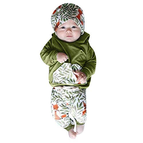 Hirolan Kleinkind Sweatshirt Outfits Baby Junge Mädchen Fuchs Drucken Lange Ärmel Plus Kaschmir Lange Hülse Top + Hosen Set Kleider (Army Green 11, 70cm)