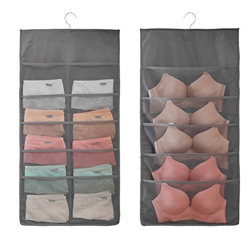 Organizador para colgar en el armario con bolsillos de malla y percha de metal giratorio, estante de pared de doble cara, bolsas de...