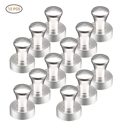 AimdonR Set van 12 magneten, nikkelpinnen van geborsteld nikkel, borsteld - zilveren push-pin-magneten, ideaal voor kantoormagneten, koelkastmagneten en magnetische duimklemmen