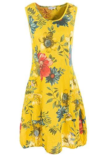 PEKIVESSA Damen Leinenkleid mit Blumen Sommerkleid Knielang Senfgelb 42 (Herstellergröße XL)