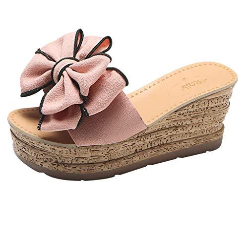 YWLINK Mujer Verano Arco CuñAs Zapatilla Sandalias Planas En Color Liso con TacóN De CuñA Zapatos De Playa Verde, Negro, Rosa, Beige 35-40